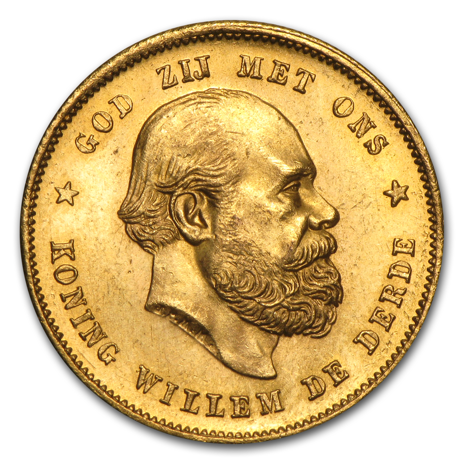 1875-1889 Netherlands Gold 10 Gulden William III Avg Circ