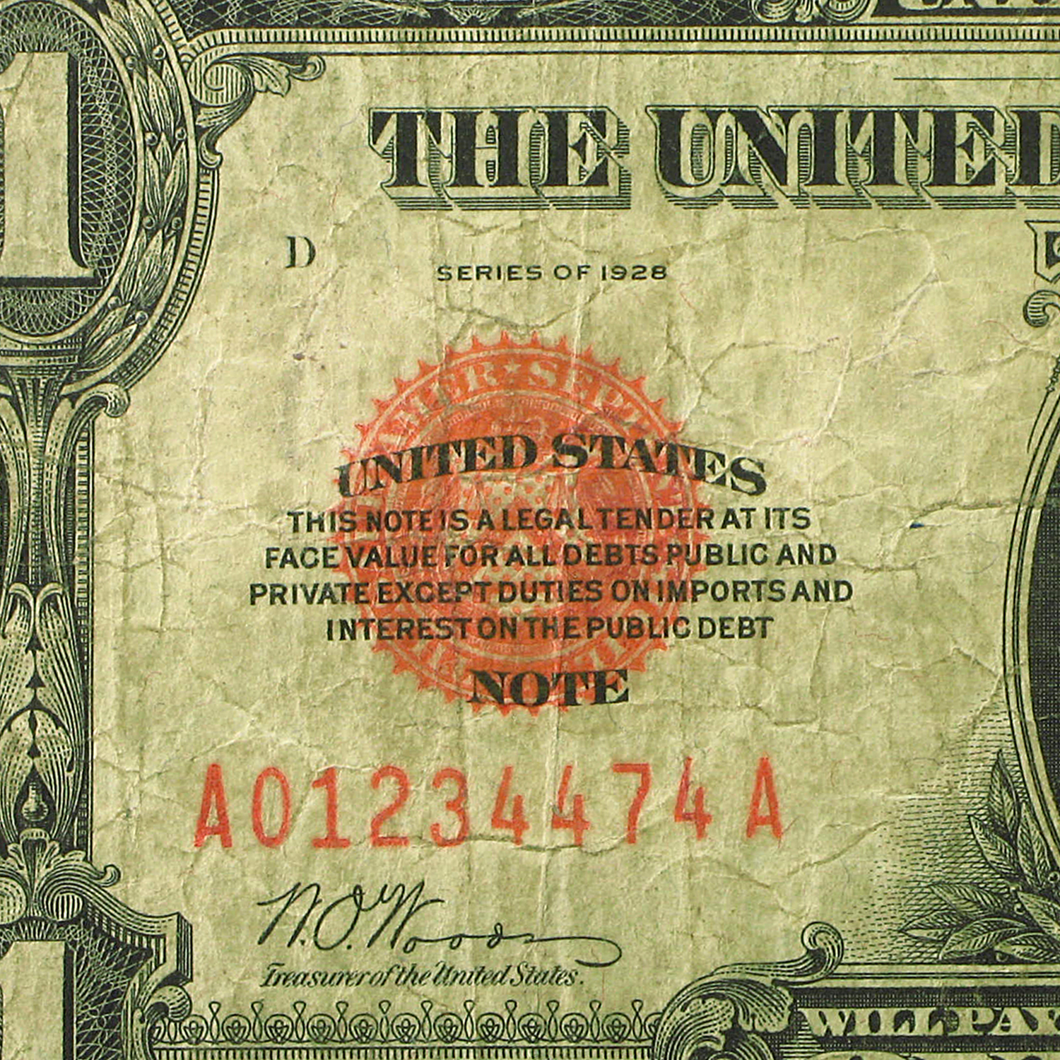1928 $1 U.S. Note - Legal Tender - (Very Good)