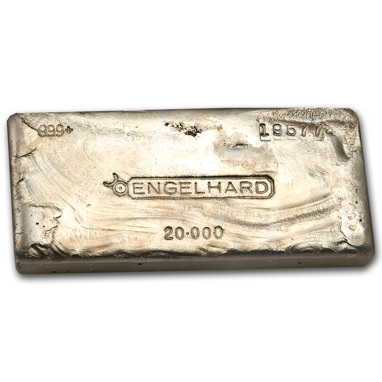 20 oz Silver Bar - Engelhard (Cast, Poured, Bull Logo)