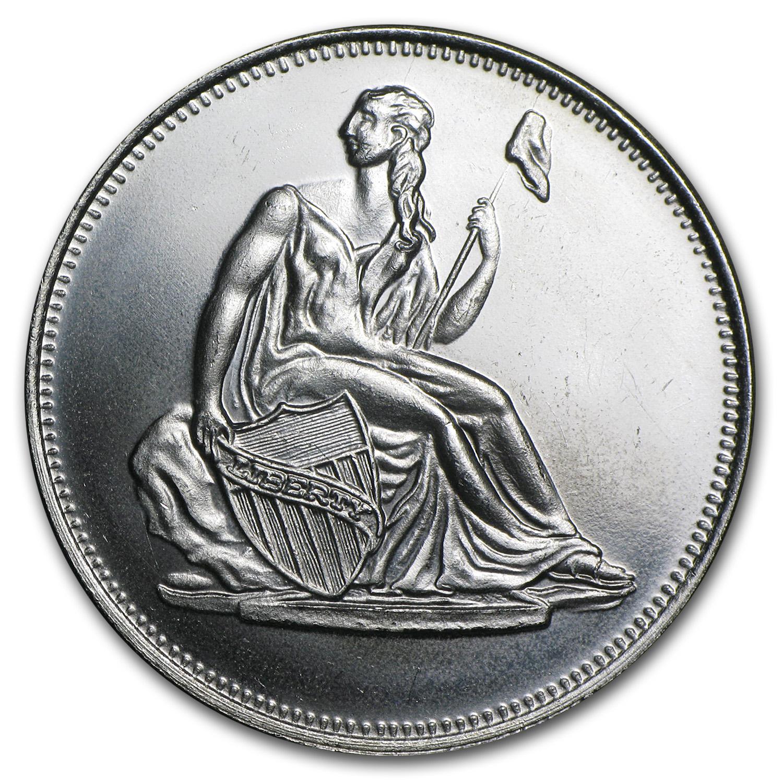 1 Oz Silver Round Seated Liberty Dollar Replica 1 Oz