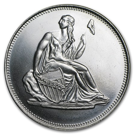 1 Oz Silver Round Seated Liberty Dollar Replica 1 Oz