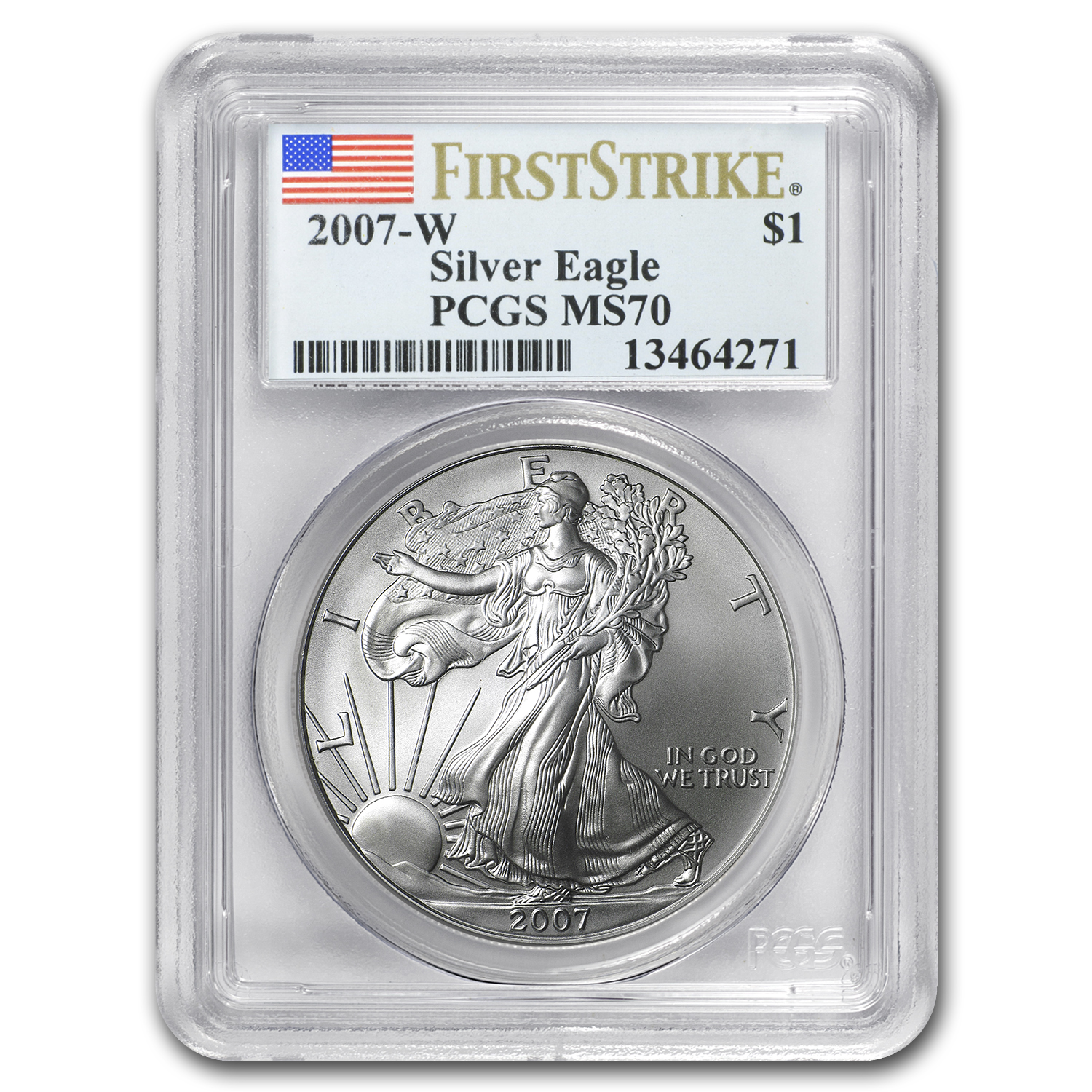 2007-W (Burnished) Silver American Eagle MS-70 PCGS (FS)