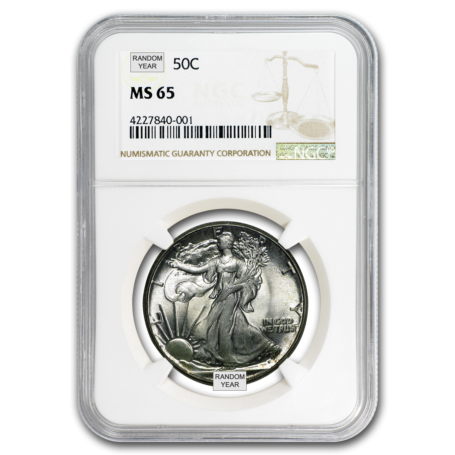 1940-1947 Walking Liberty Half-Dollar MS-65 NGC (Random)