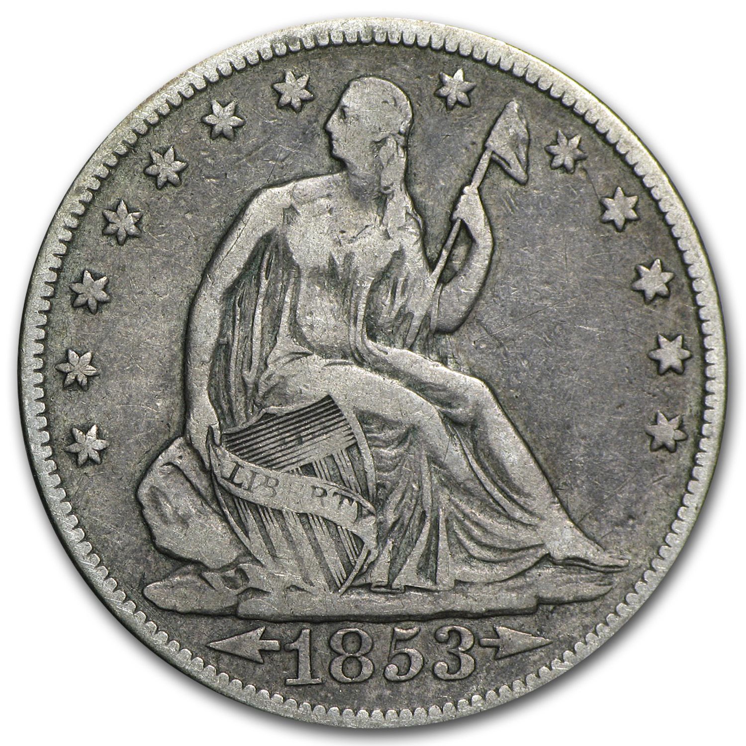 1853 Liberty Seated Half Dollar w/Arrows & Rays VF