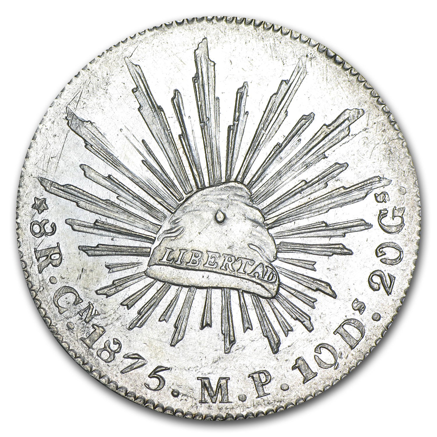 1875 Cn MP Mexico Silver 8 Reales AU
