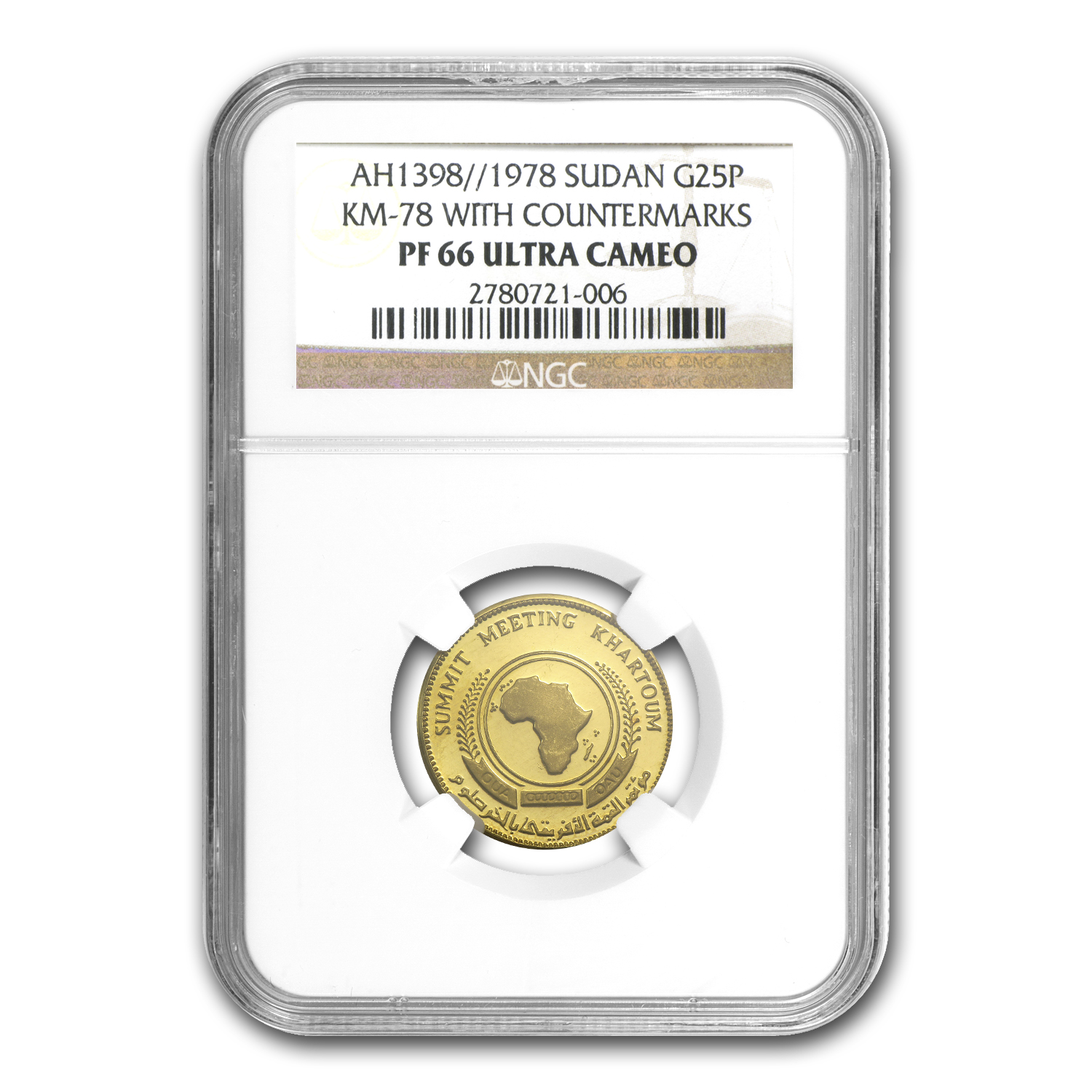 1978 Sudan Gold 25 Pounds OAU PF-66 NGC