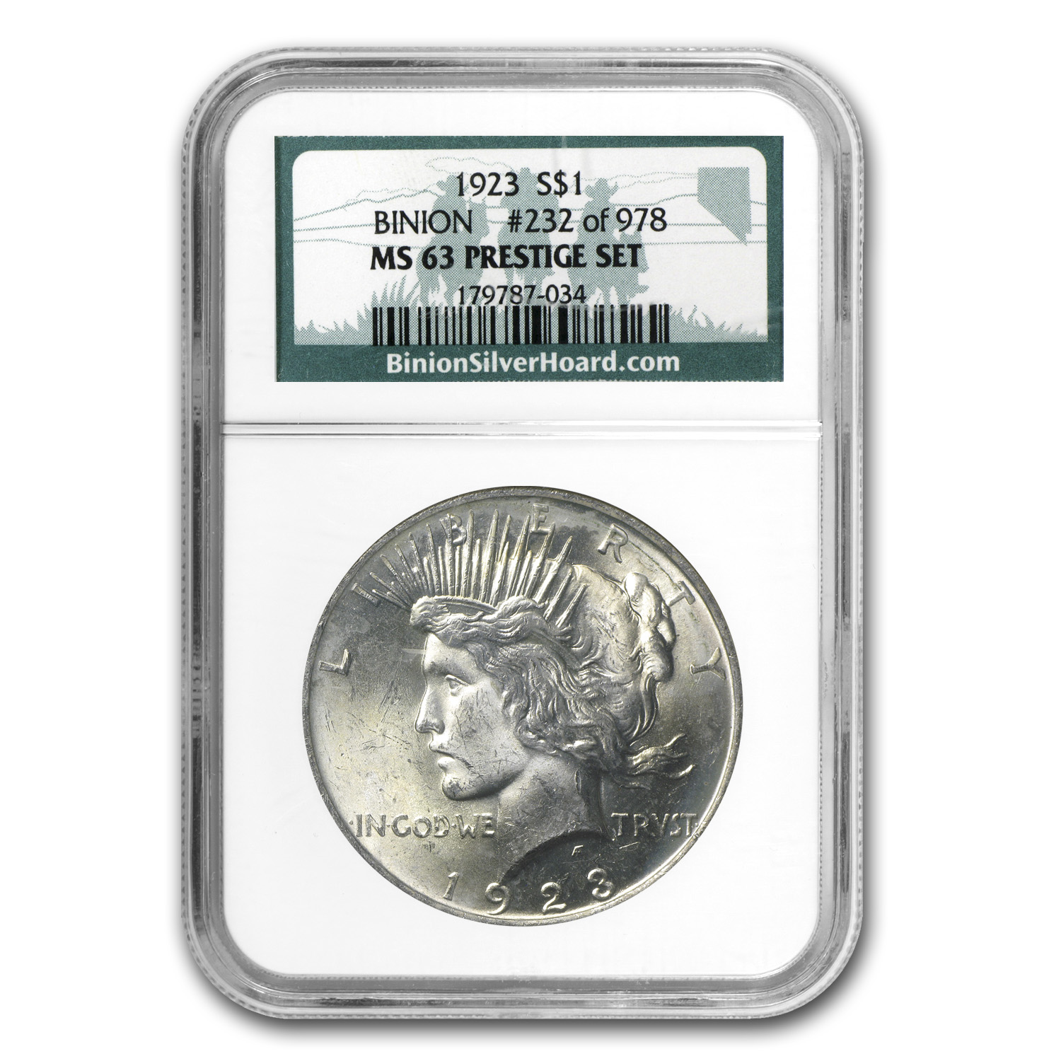 1923 Peace Dollar MS-63 NGC - Binion Collection