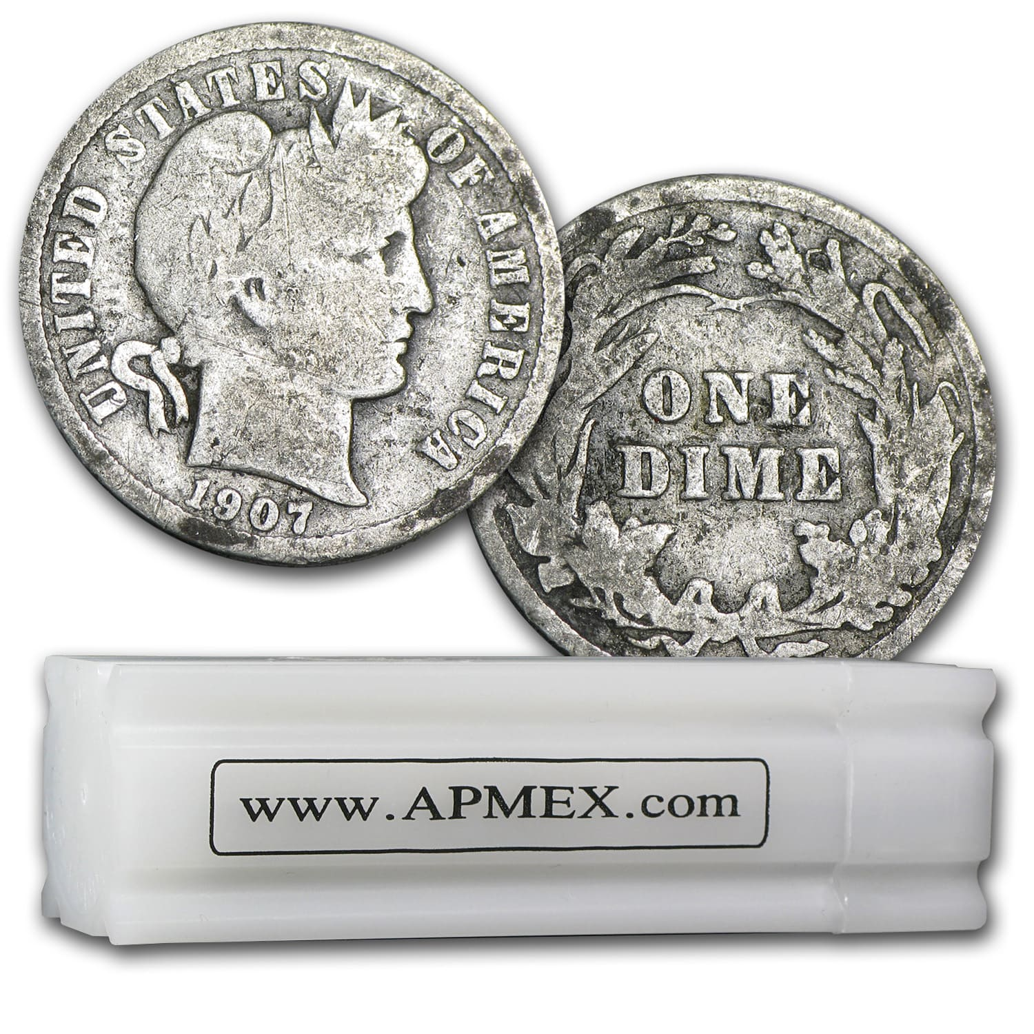 90% Silver Barber Dimes $5 50-Coin Roll Good/Better