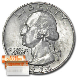 1954-D Washington Quarter 40-Coin Roll BU
