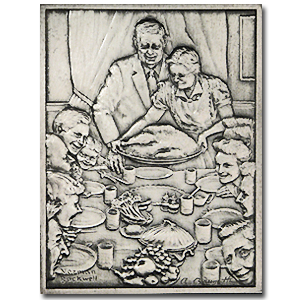 2.08 oz Silver Bar - Norman Rockwell (Freedom from Want)