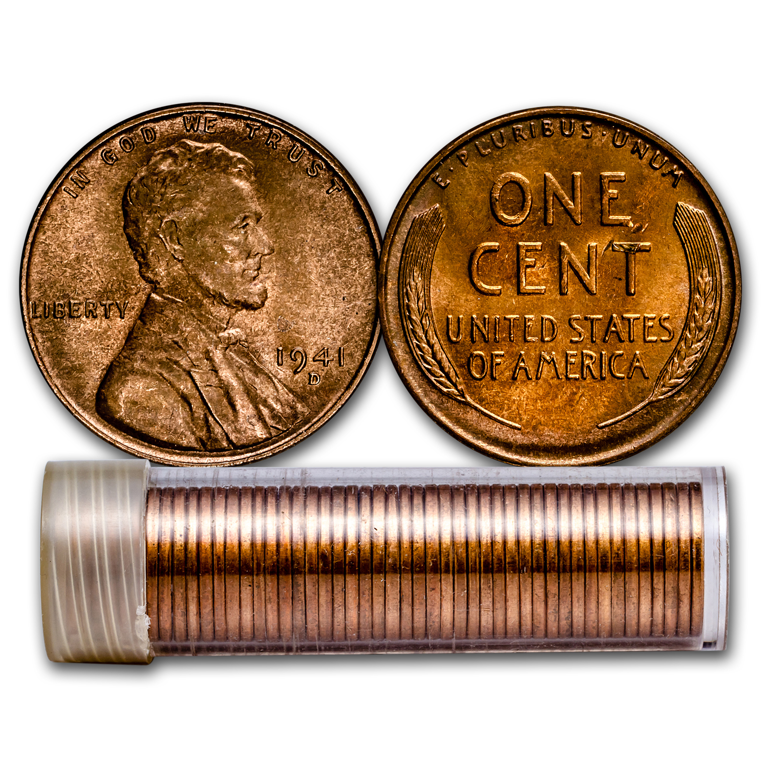 1941-D Lincoln Cent 50-Coin Roll BU