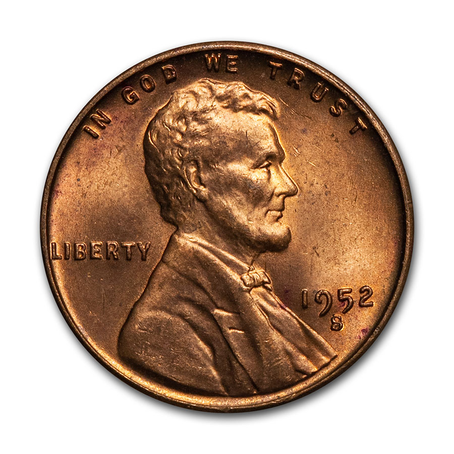 1952-S Lincoln Cent 50-Coin Roll BU
