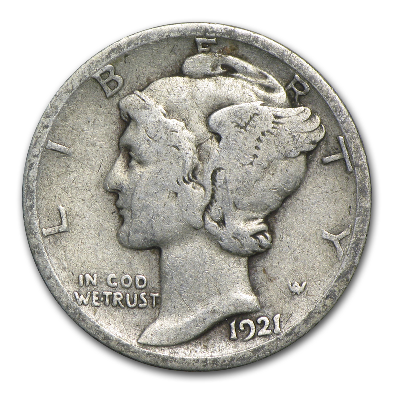 1921-D Mercury Dime - Very Good