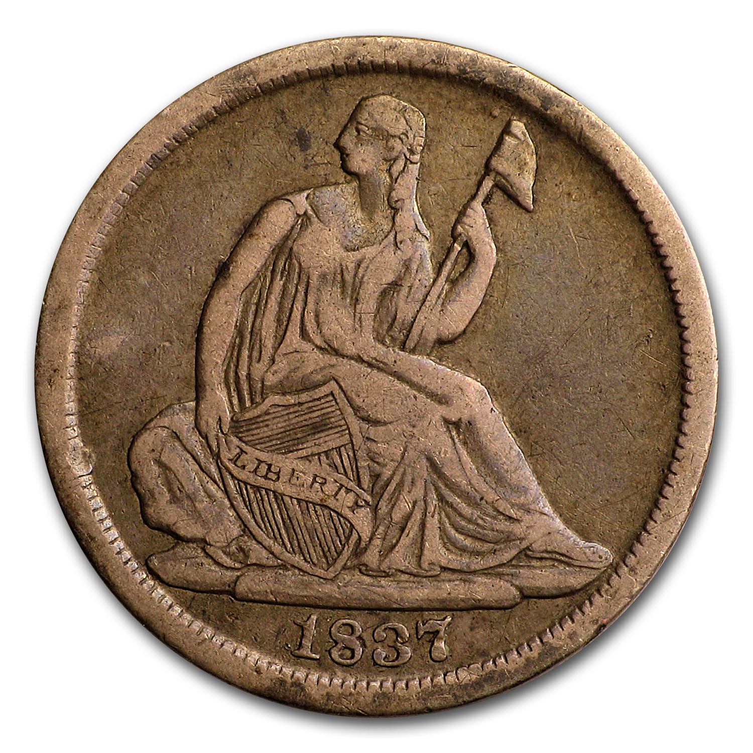 1837 Liberty Seated Half Dime Large Date VF