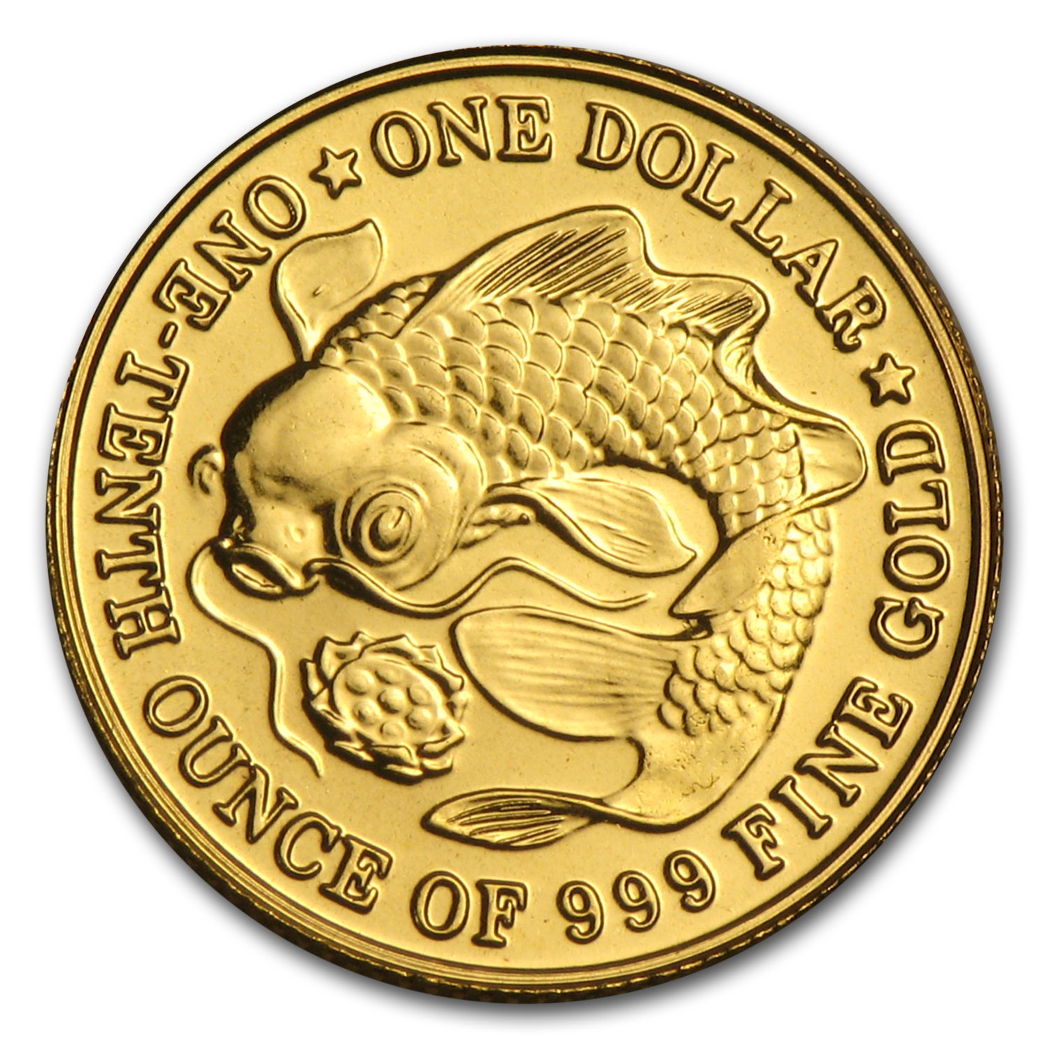 1983-1984 Singapore 1/10 oz Gold $1 Carp & Lotus BU (Random)