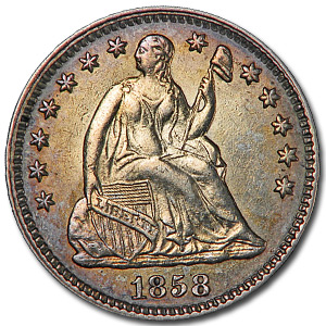 1858 Liberty Seated Half Dime AU-53