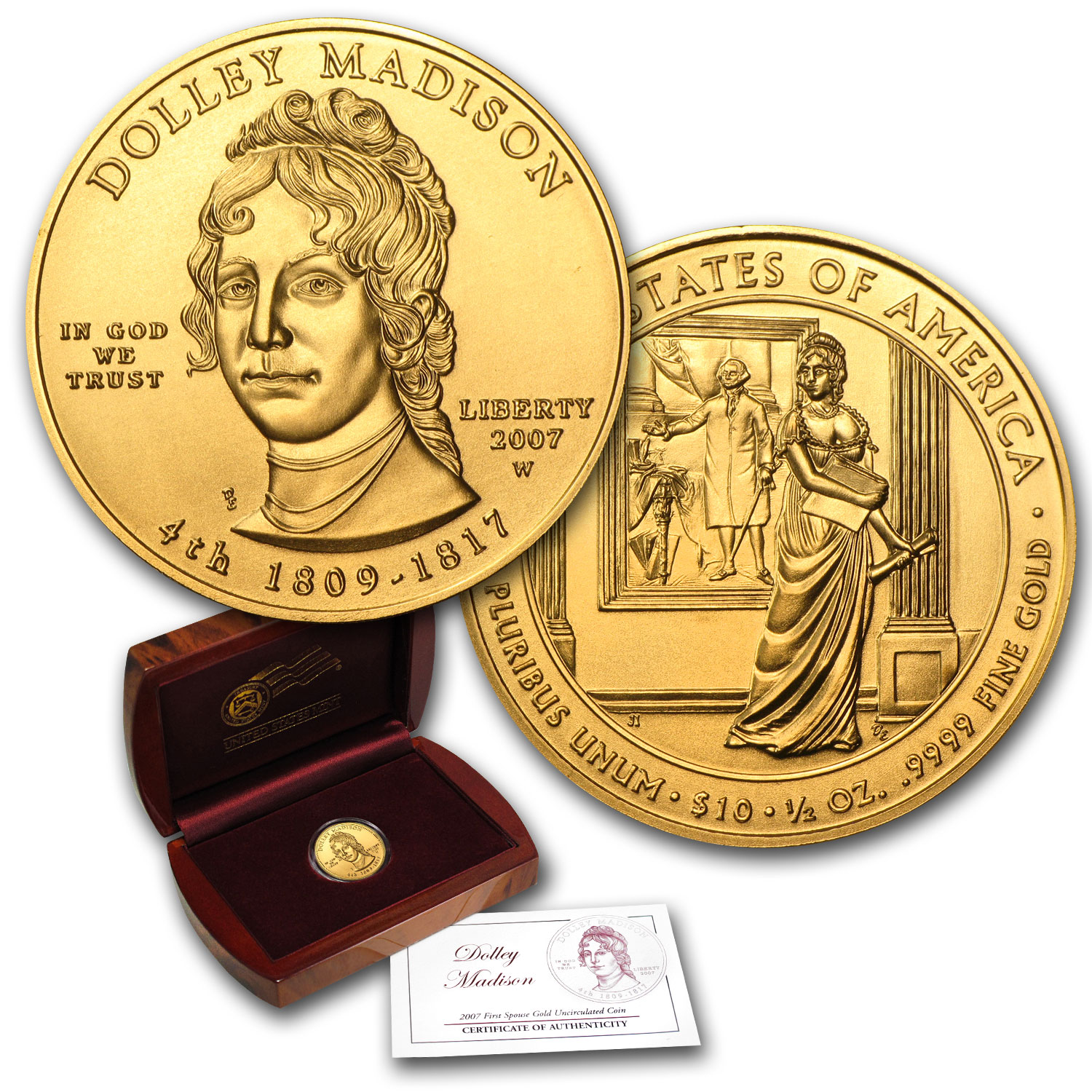 2007-W 1/2 oz Gold Dolley Madison BU (w/Box & COA)