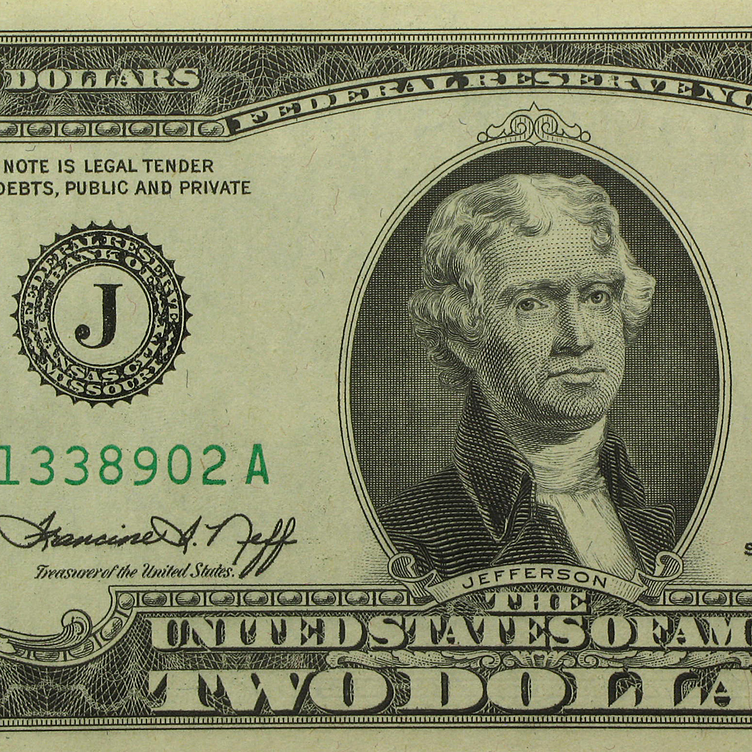 1976 (J-Kansas City) $2.00 FRN (Crisp Uncirculated) (50 Notes)