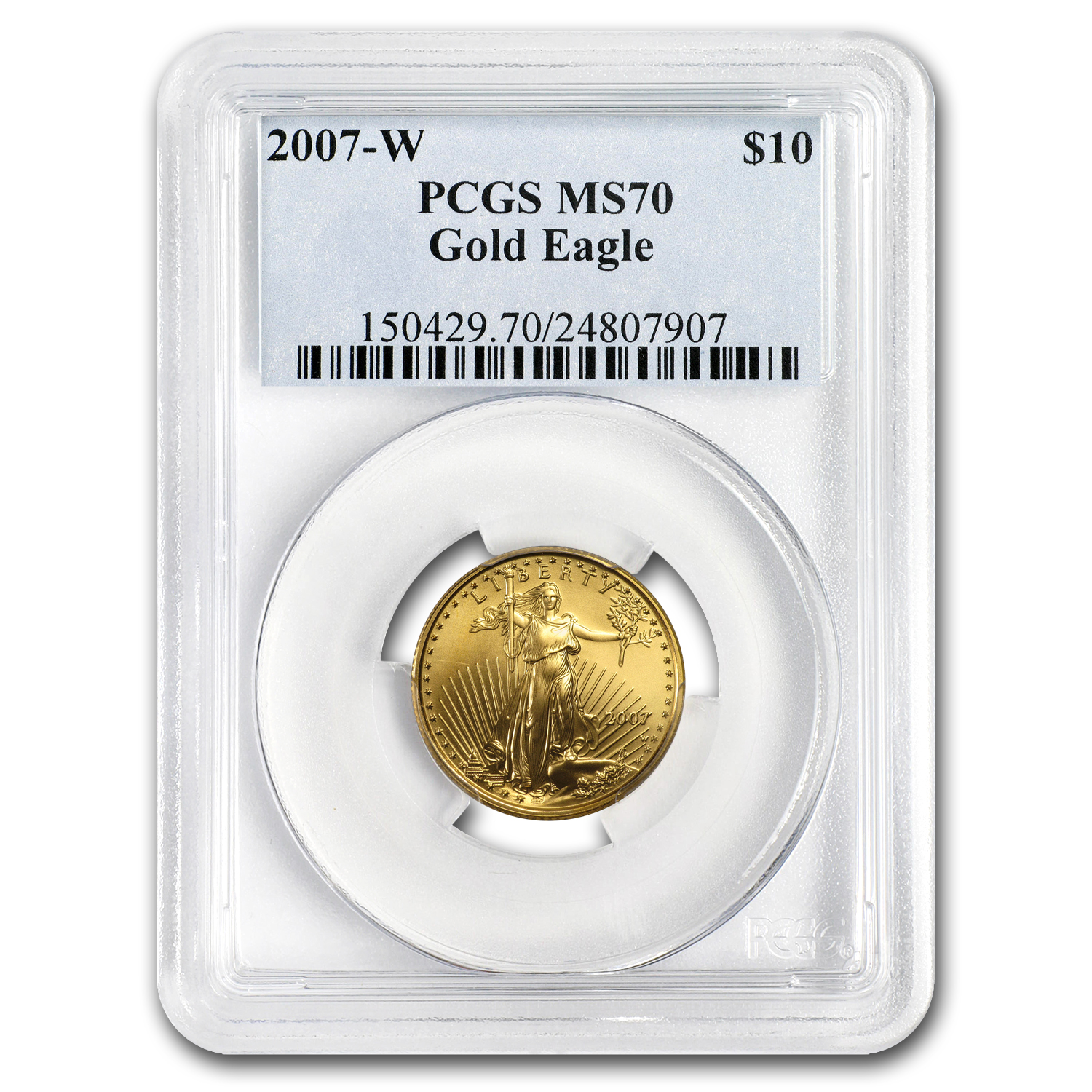 2007-W 1/4 oz Burnished Gold American Eagle MS/SP-70 PCGS