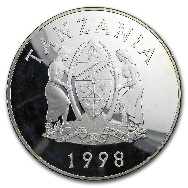1998 Tanzania 5 Oz Silver 2500 Shilingi Lion Proof