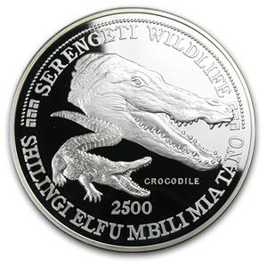1998 Tanzania 5 Oz Silver 2500 Shilingi Crocodile Proof
