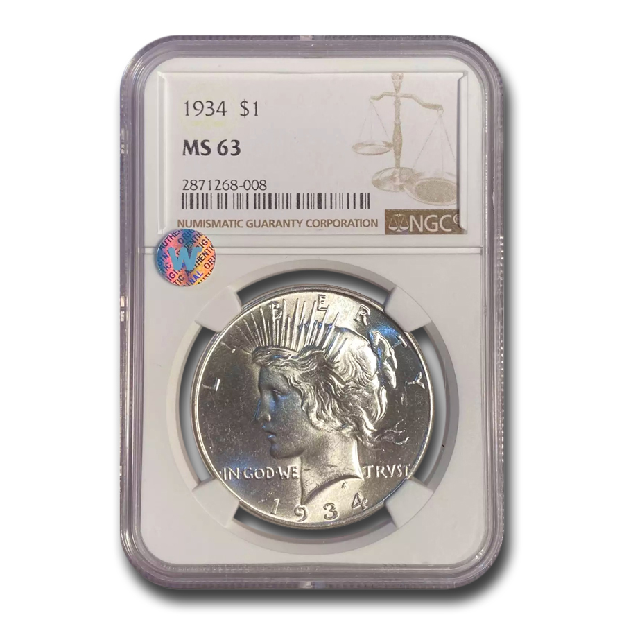 1934 Peace Dollar MS-63 NGC