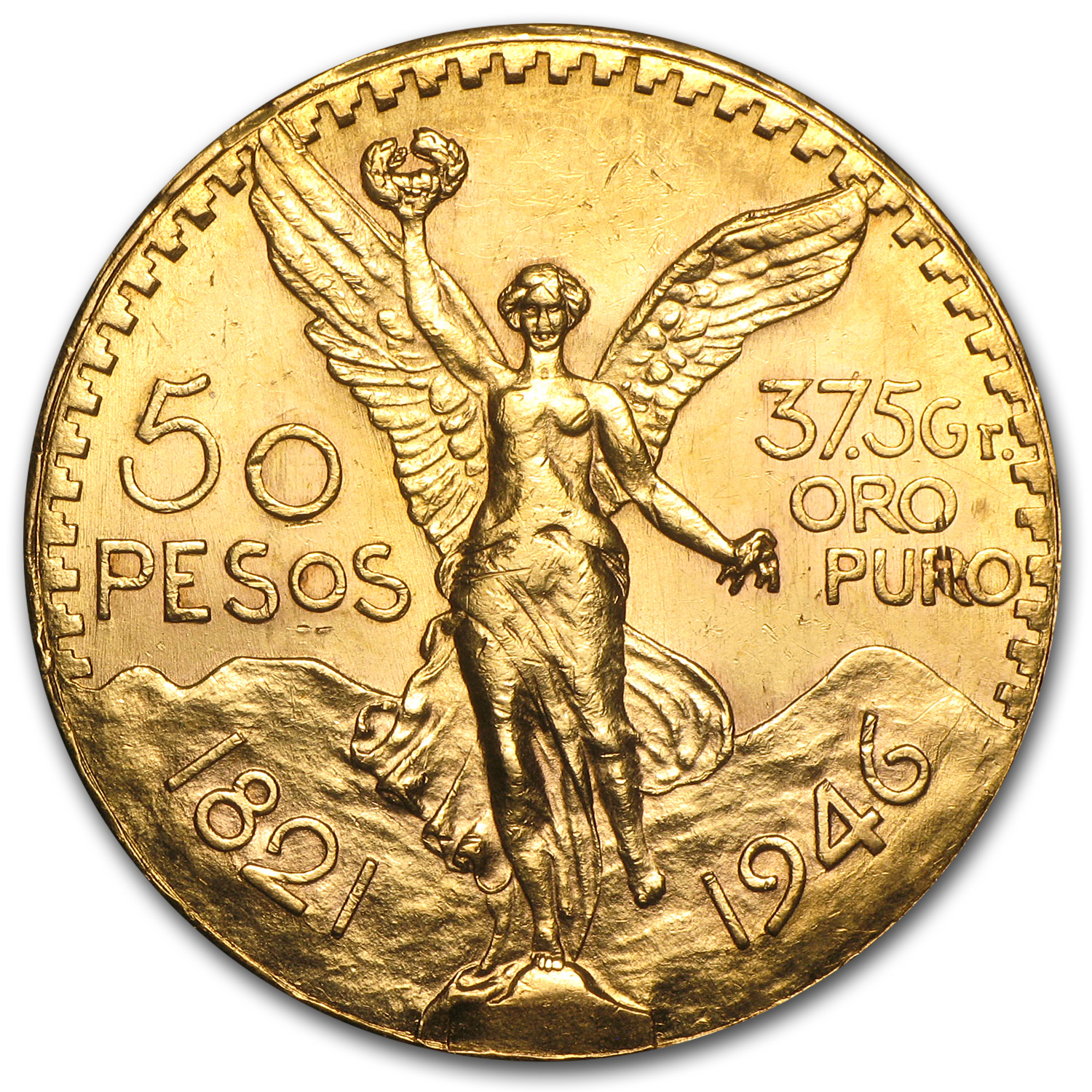 1946 Mexico Gold 50 Pesos AU