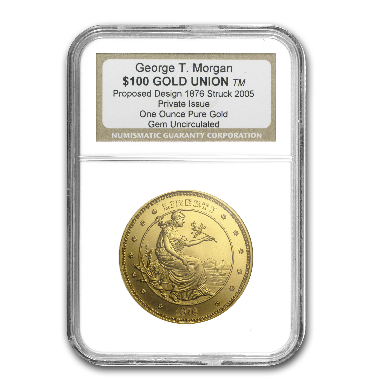 1 oz Gold Round - $100 Gold Union George T. Morgan (NGC, Gem Unc)