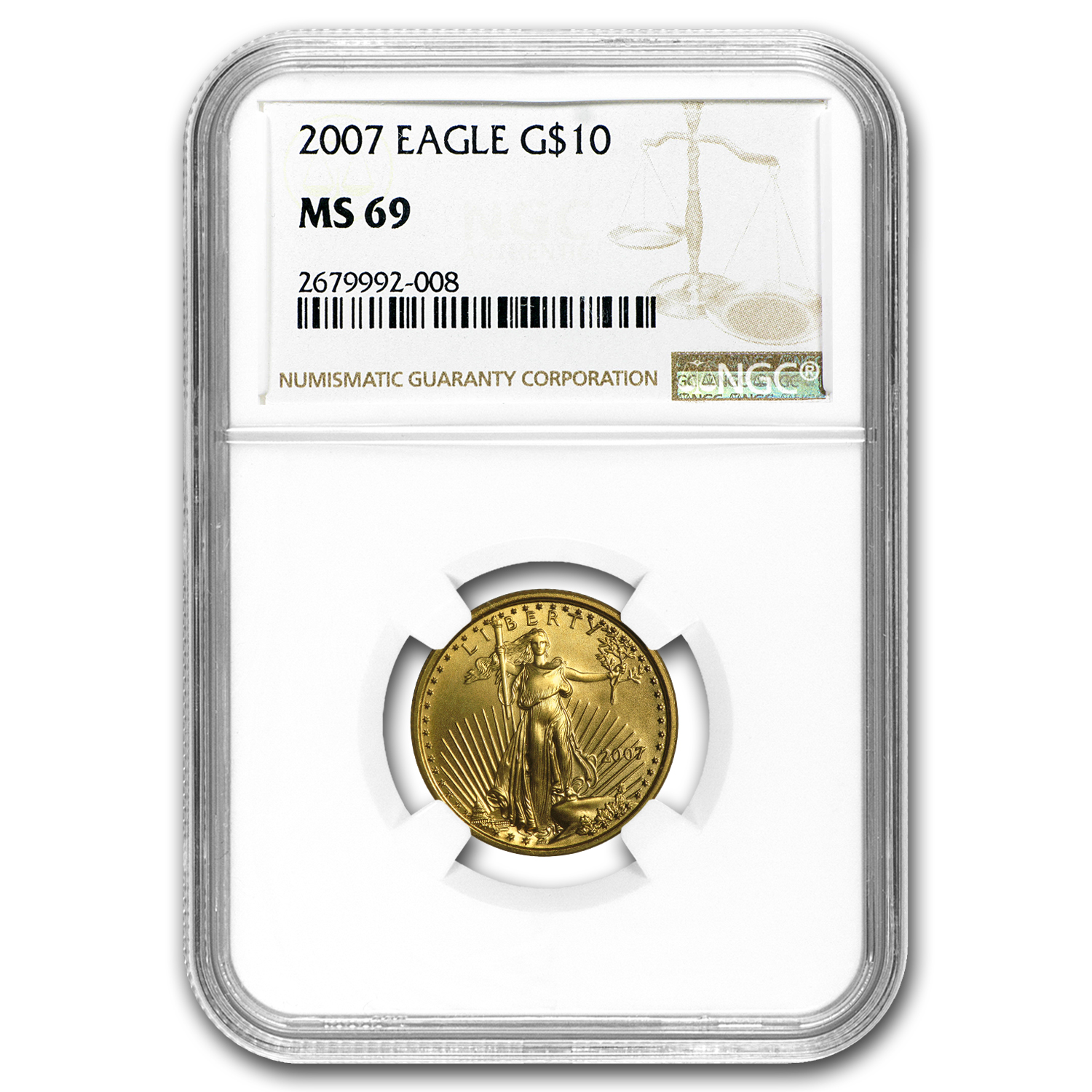 2007 1/4 oz Gold American Eagle MS-69 NGC