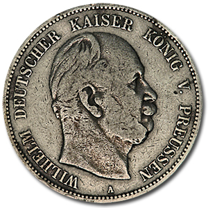 Prussia 5 Mark Silver Avg Circ Random Dates