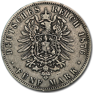Prussia Silver 5 Mark Avg Circ (Random Dates)