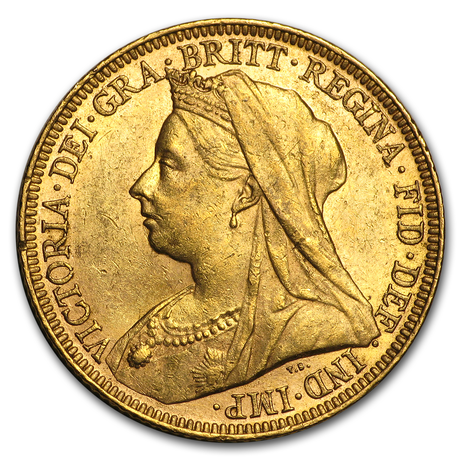 1893-1901 Great Britain Gold Sov Victoria Veil Head AU