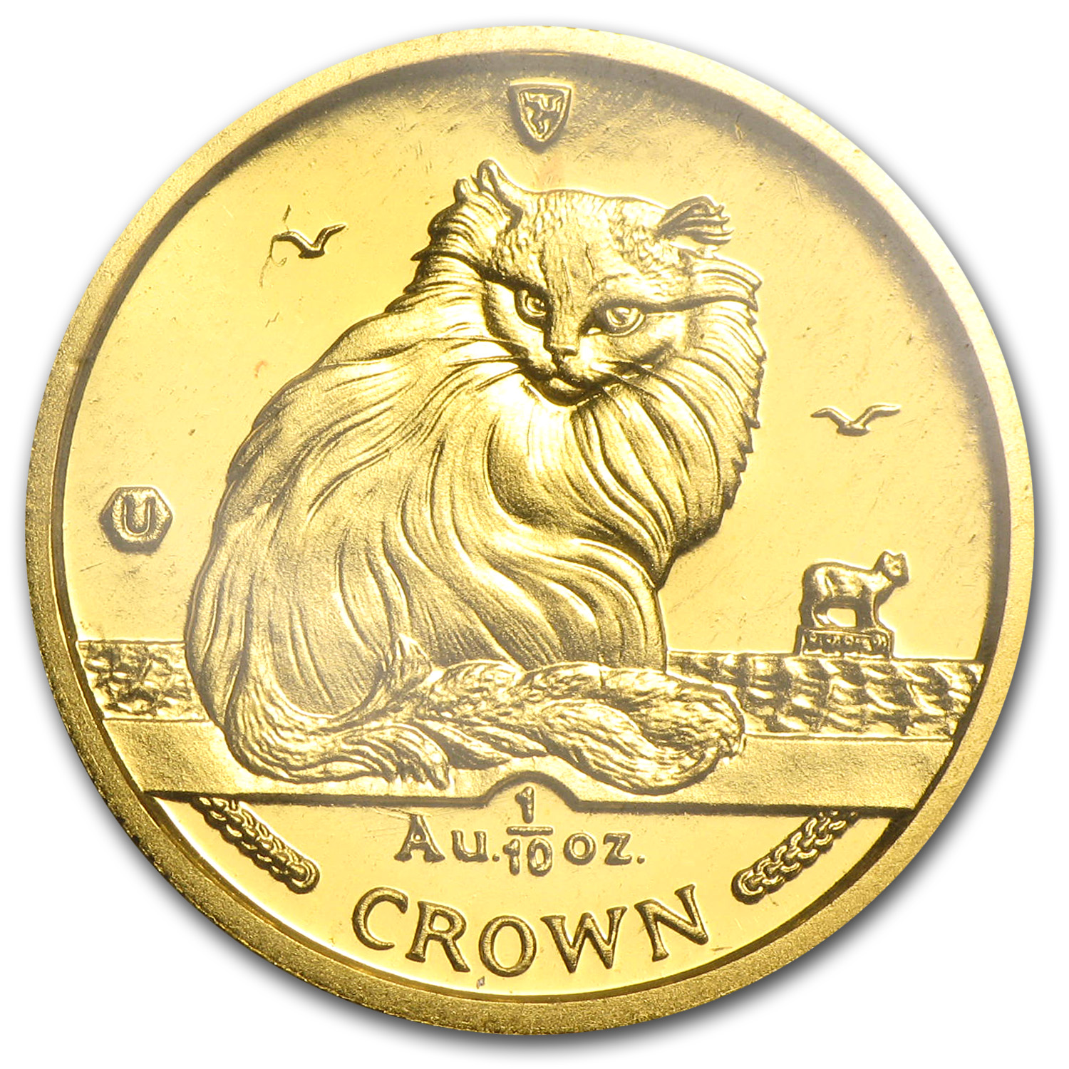 1995 Isle of Man 1/10 Crown Gold Turkish Cat BU