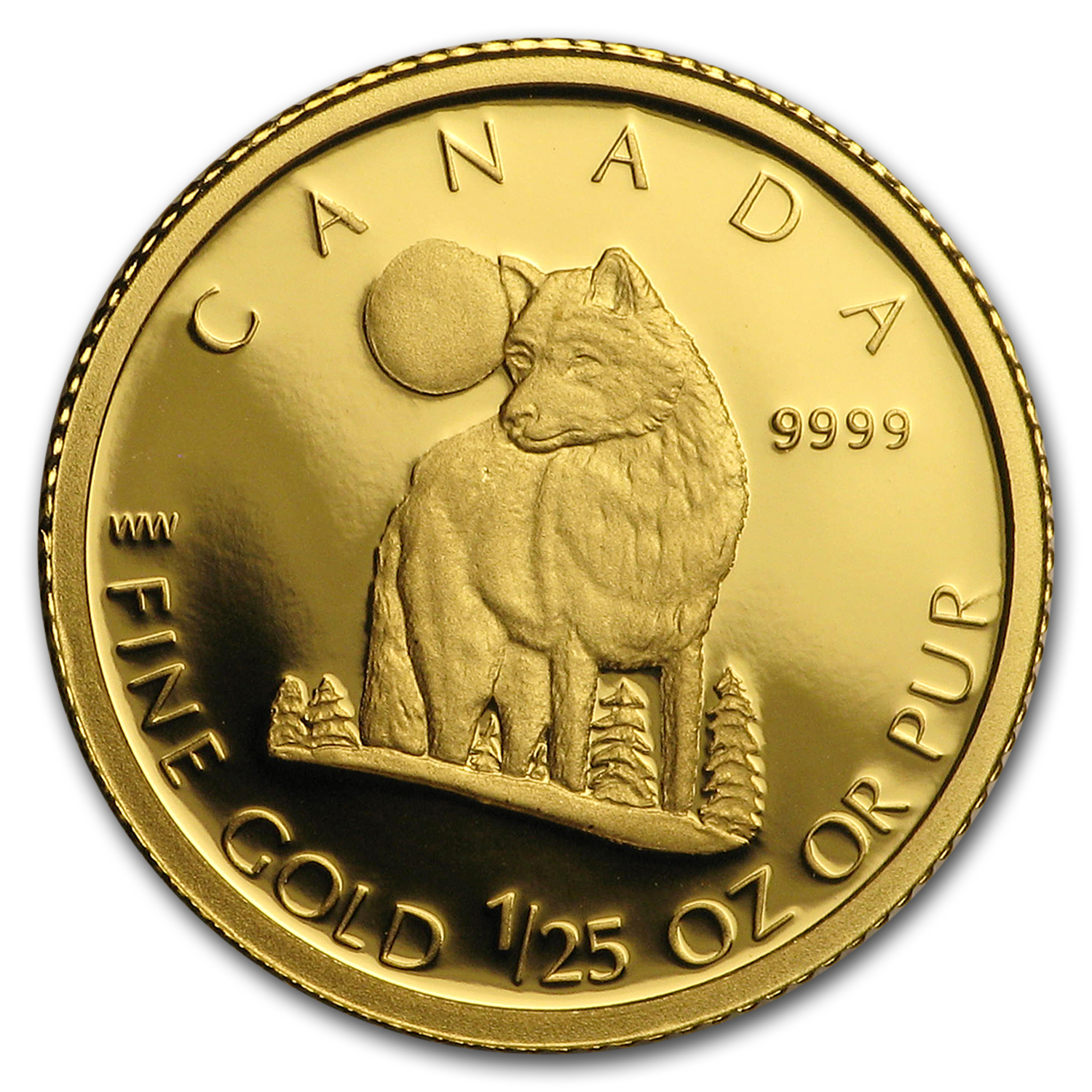 2007 Canada 1/25 oz Proof Gold $0.50 The Grey Wolf
