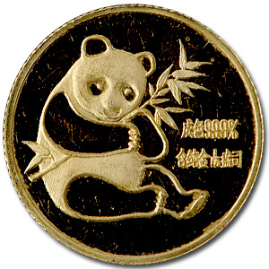 1982 China 1/10 oz Gold Panda (Abrasions)