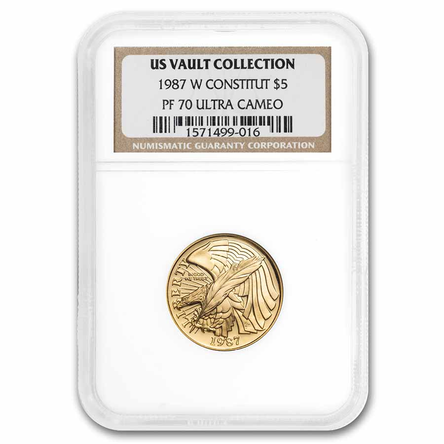 1987-W Gold $5 Commem Constitution PF-70 NGC