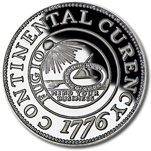 2 oz Continental Curency (Replica) Silver Round .999 Fine