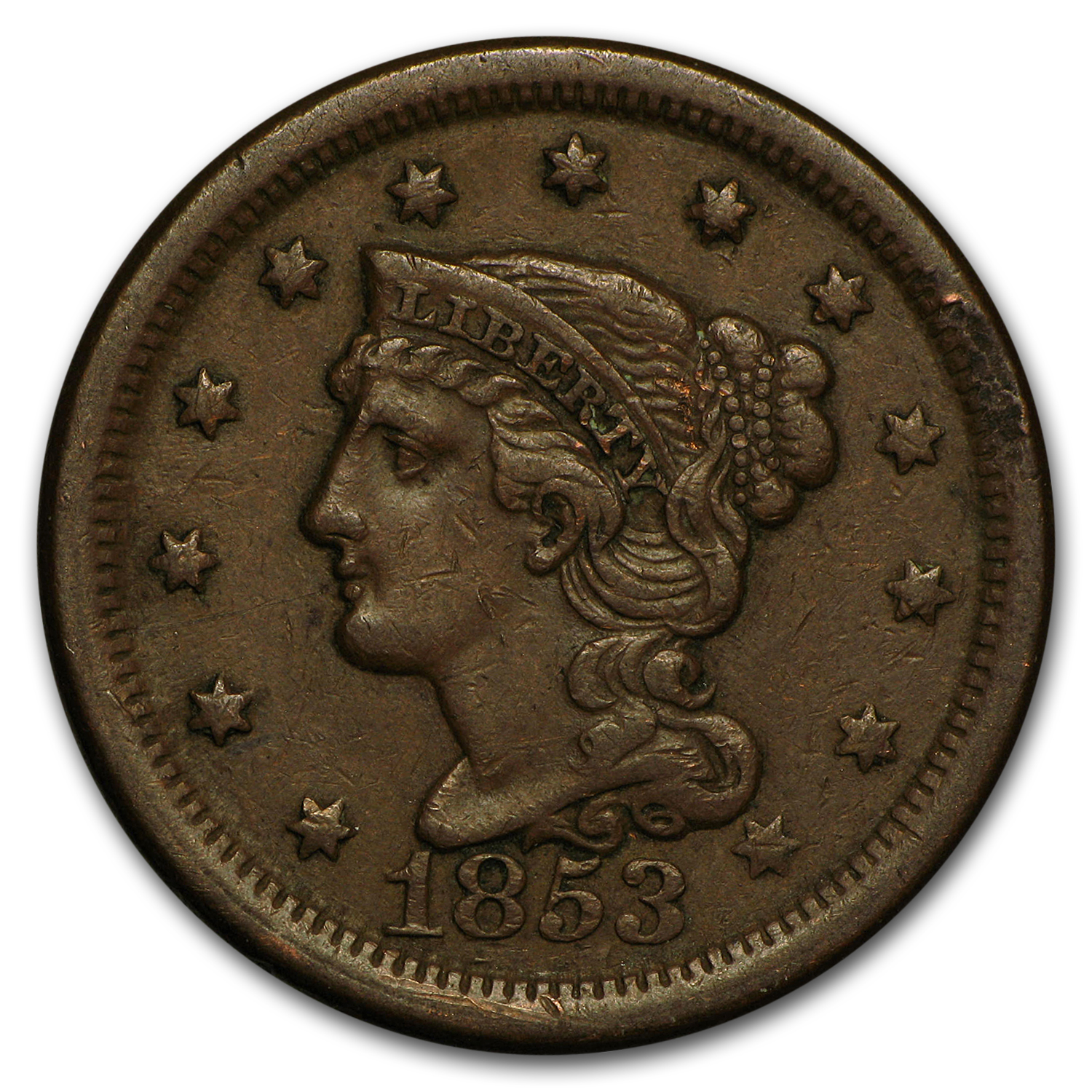 1853 Large Cent VF