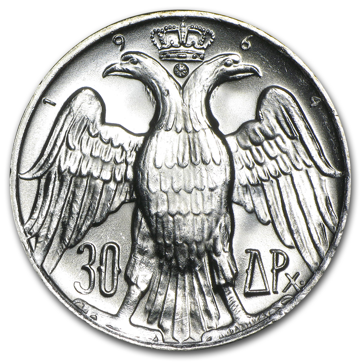 1964 Greece Silver 30 Drachmai Royal Wedding BU