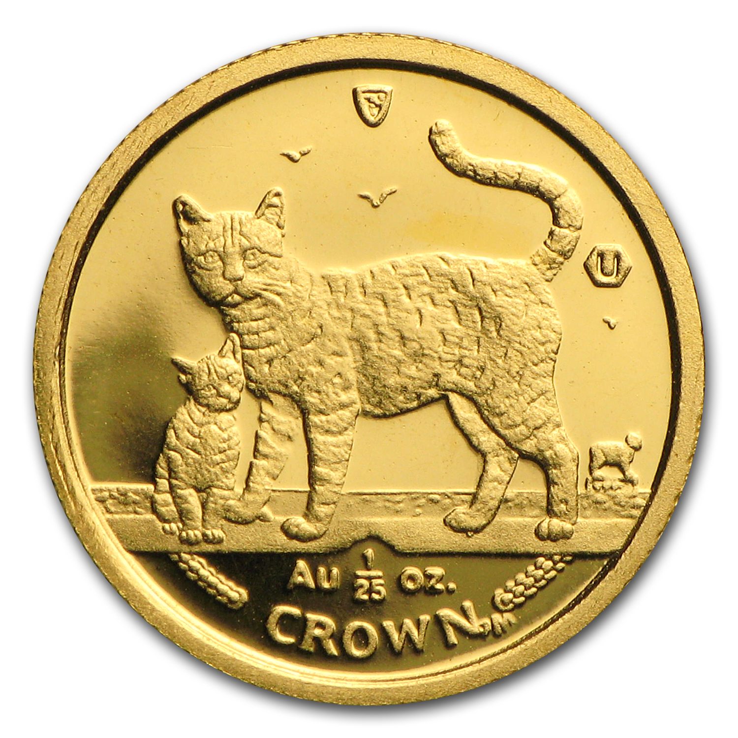 2002 Isle of Man 1/25 oz Gold Bengal Cat BU