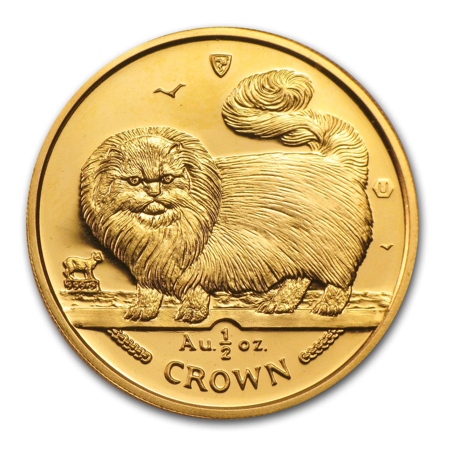 1997 Isle of Man 1/2 Crown Gold Long Haired Smoke Cat