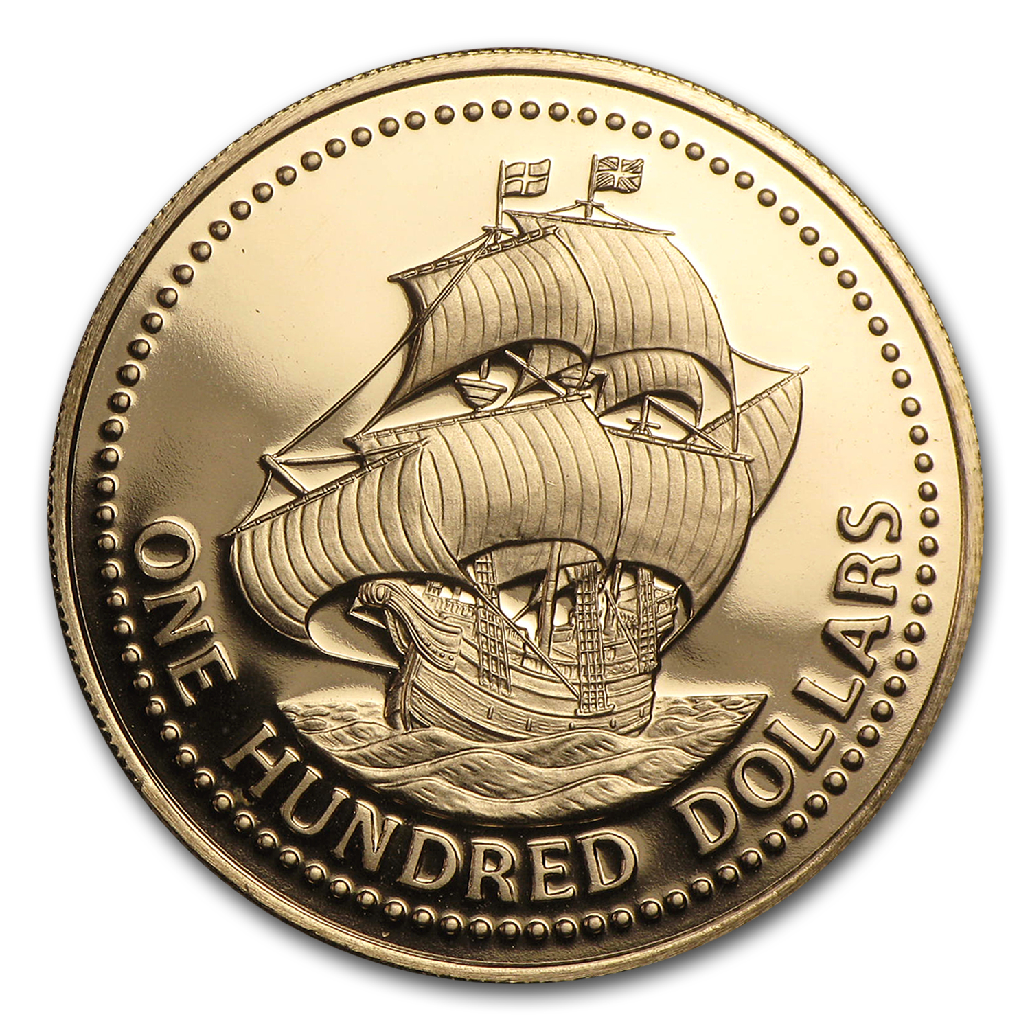 1975 Barbados Gold $100 BU/Proof