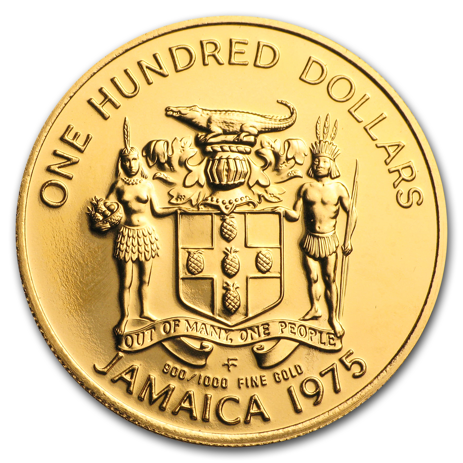 1975 Jamaica Gold 100 Dollars Columbus BU
