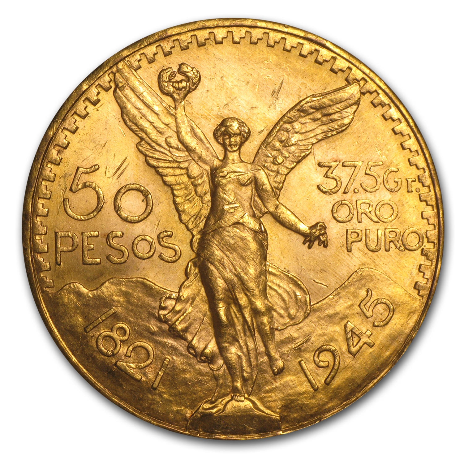 1945 Mexico Gold 50 Pesos BU