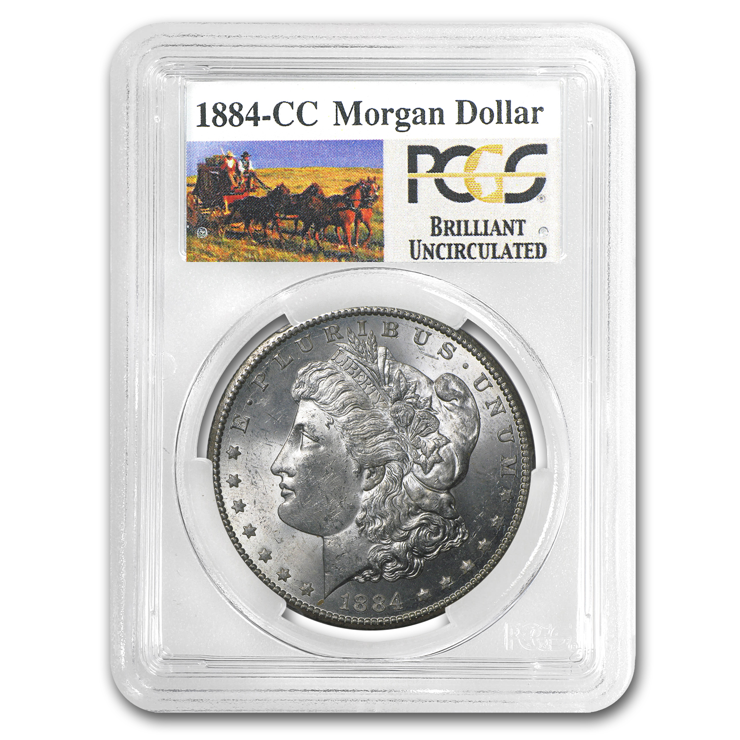 1884-CC Brilliant Uncirculated PCGS Stage Coach Silver Dollars