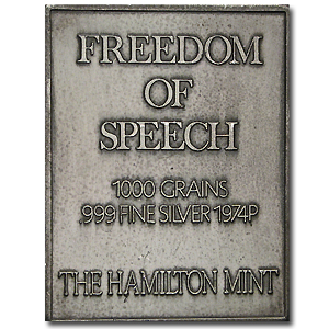 2.08 oz Silver Bars - Norman Rockwell (Freedom of Speech)