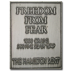 2.08 oz Silver Bar - Norman Rockwell (Freedom from Fear)