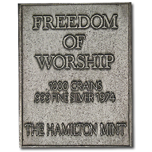 2.08 oz Silver Bar - Norman Rockwell (Freedom of Worship)