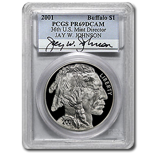 2001-P Buffalo $1 Silver Commem Jay Johnson - PR-69 DCAM PCGS