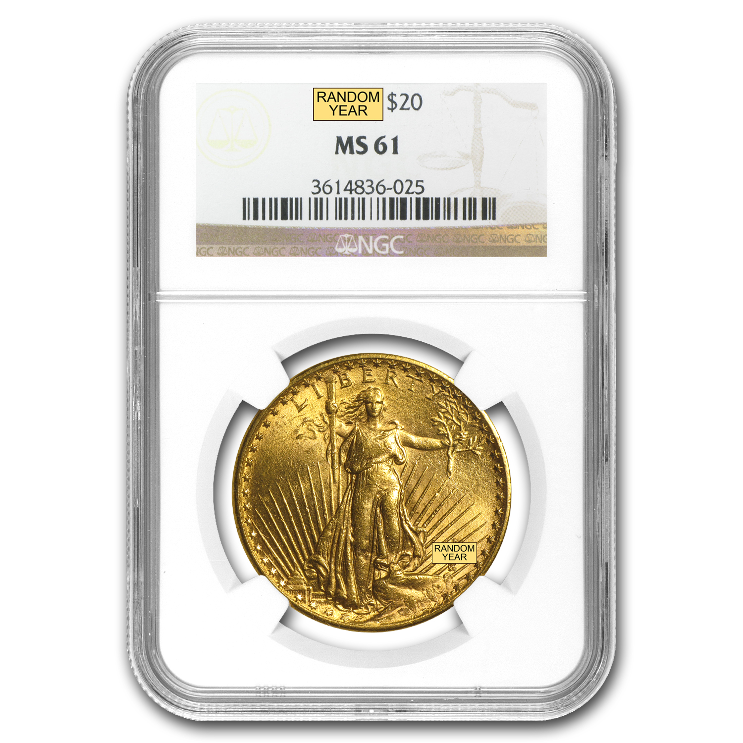 $20 Saint-Gaudens Gold Double Eagle - MS-61 NGC